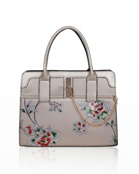 RX180934  Floral Print Top-Handle Bag With Chain Charm Detail