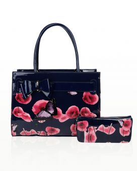 RB170851-PB  Poppy Flower & Butterfly Pattern Top-Handle Bag With Purse Set