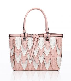 RJ180946  3D Feather Patterned Top-Handle Bag