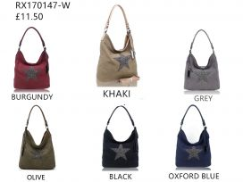 RX170147-W  Canvas Tote Bag With Glitter Star Patterned