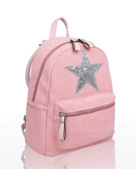 RH180916 - Large compartments Canvas Backpack with Glittery Star