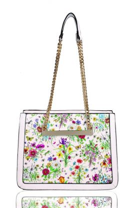 RX180933  Floral Print Shoulder Bag With Colored Edge